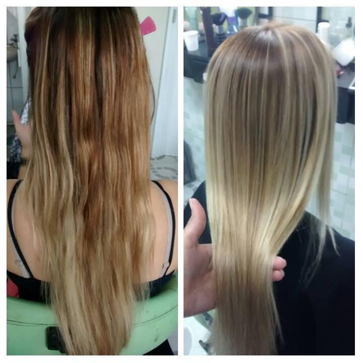Mechas peroladas com correção de cor cabeleireiro(a)