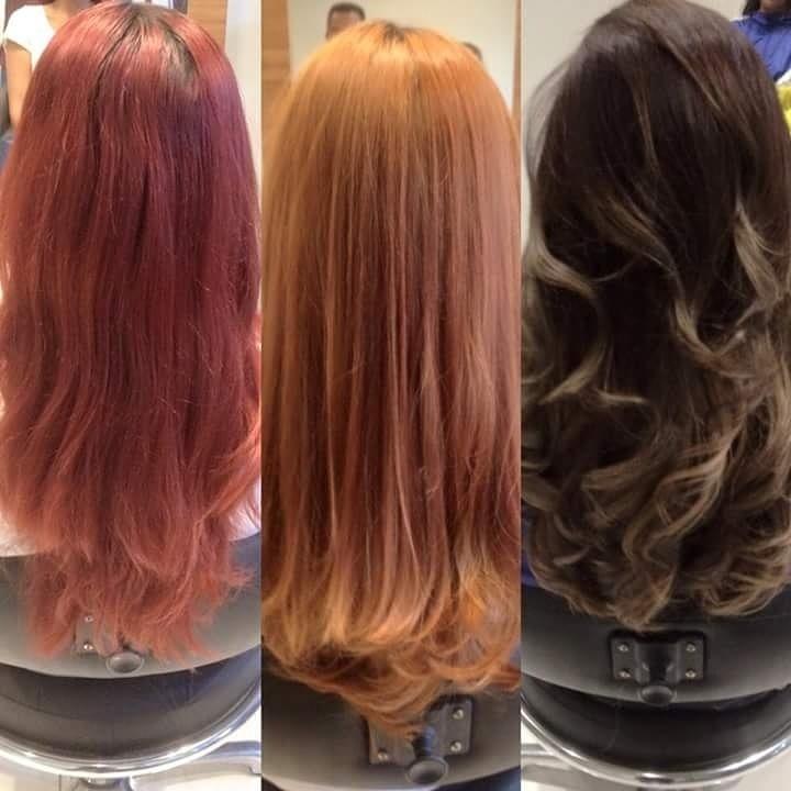 Mudança de cor. cabelo cabeleireiro(a)