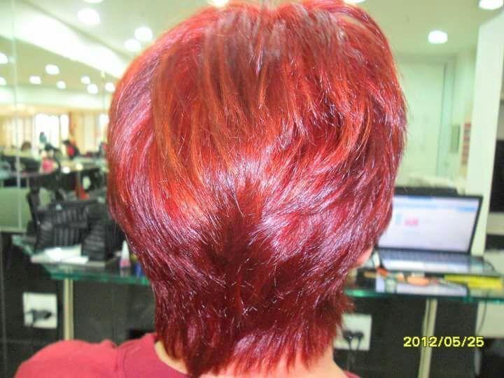 Vermelho +mechas acobreadas+corte por sharlon Lisboa... cabeleireiro(a)