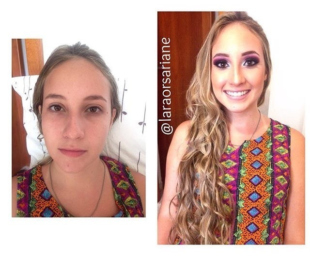 Maquiagem Profissional  Antes & Depois #maquiagemprofissional #laraorsariane estudante (esteticista) maquiador(a) designer de sobrancelhas