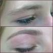 Designer de sobrancelhas, feitas em uma adolescente de 14 anos.