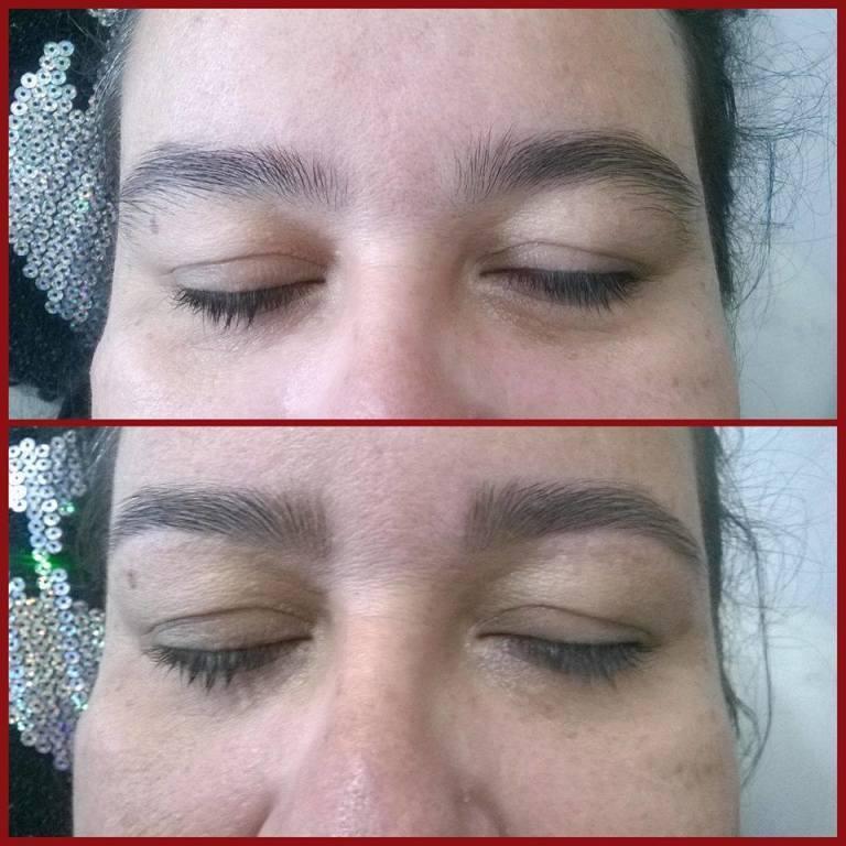 Dando forma a sobrancelha. manicure e pedicure maquiador(a) designer de sobrancelhas