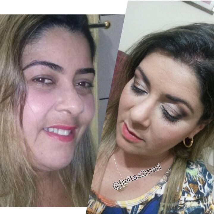 Antes e depois da minha cliente, arrasou!!!! #Makeupbyfreitasmari #instamakeup #cosmedic #cosmedcs #fashion #instagood #beautiful #maquillaje #linda #festa #debutante #madrinha #social #noiva #balada  maquiagem maquiador(a)