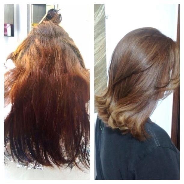 Retirando o vermelho e o resto de preto. Ombre Hair em tons de mel e caramelo. 😉 stylist / visagista
