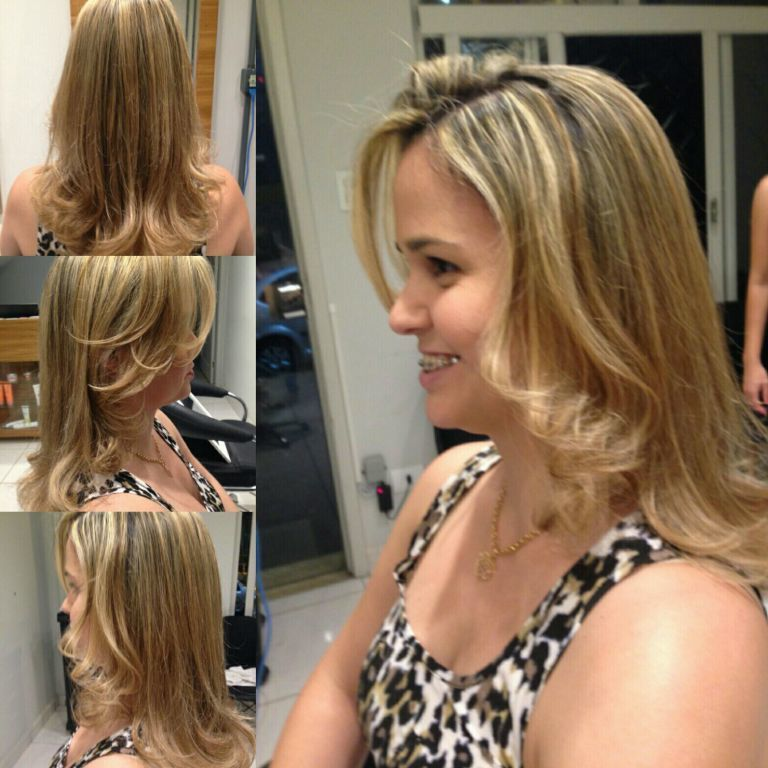Luzes douradas. cabelo cabeleireiro(a)
