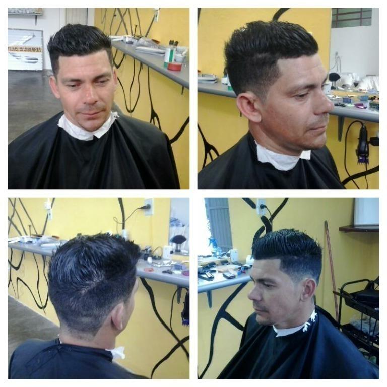 Alisamento e o corte arrepiado barbeiro(a)