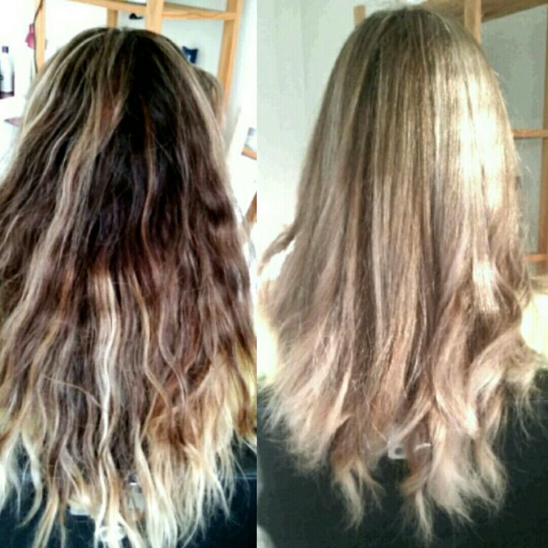 Cabelo antes d escolorido em casa e depois correção de cor feito por nós cabelo maquiagem estética cabeleireiro(a) distribuidor(a) outros