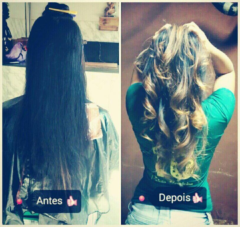Ombre hair em um cabelo com tintura preta azulado este foi o resultado, ombre hair cor mel. cabelo cabeleireiro(a)