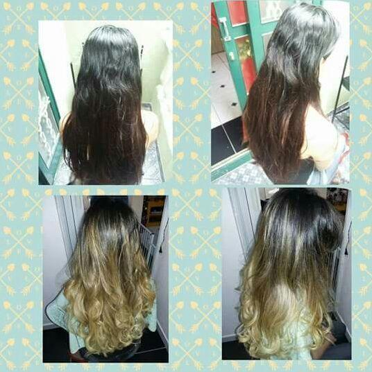 Um belo ombre hair dourado. cabelo auxiliar cabeleireiro(a)