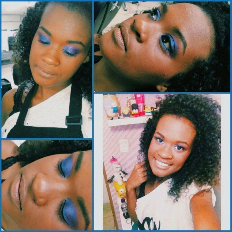 Make colorida , Aula de pele negra ! #aula  #pelenegra #negra #colorido #azul maquiagem maquiador(a)