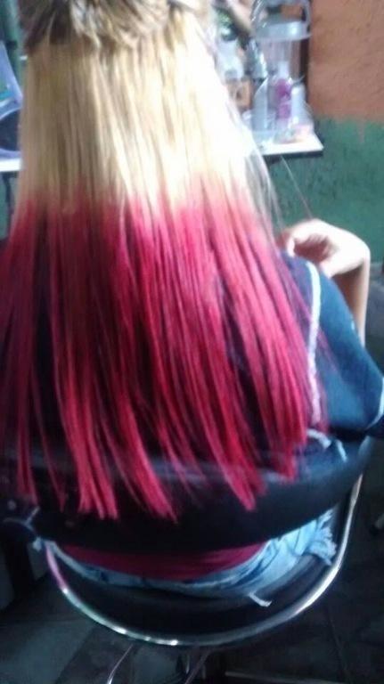 louro clarissimo,metade com tonalizante pink e progressva zap