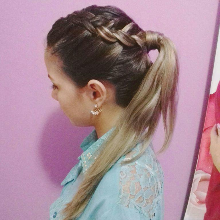Rabo de cavalo+trança invertida ♡ cabelo estudante (maquiador)