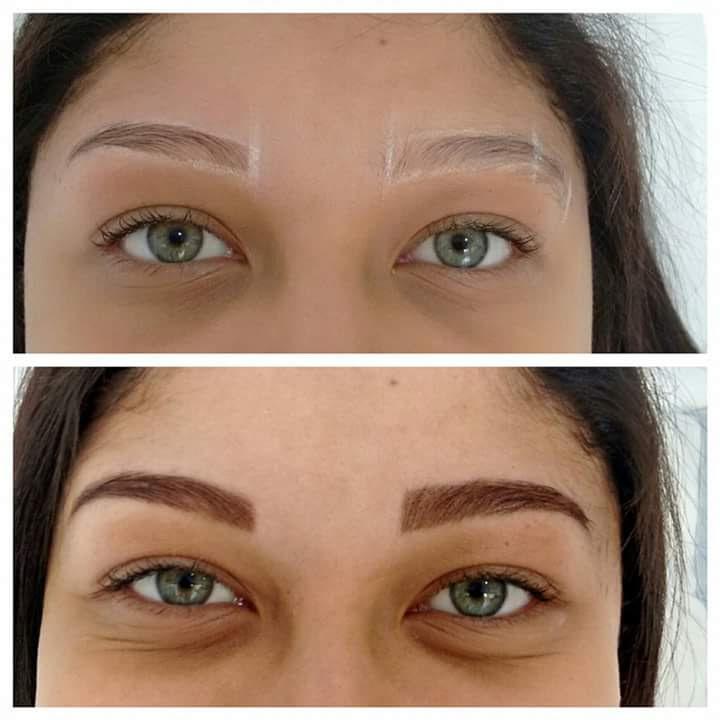 antes e depois Designer e Henna designer de sobrancelhas