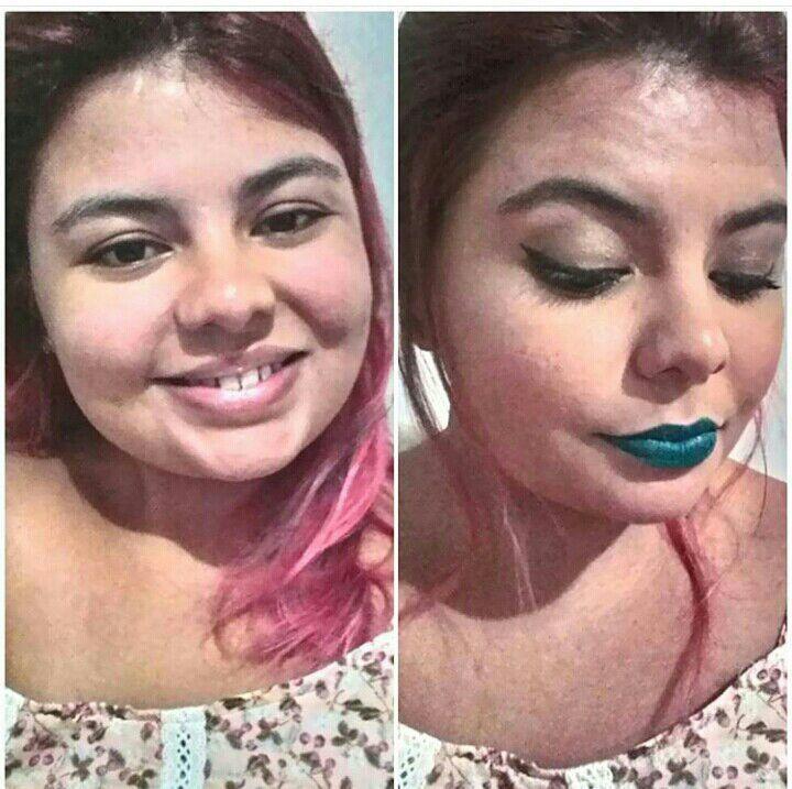 Antes é depois !  #colorido #batomverde #make # treinando maquiagem maquiador(a)