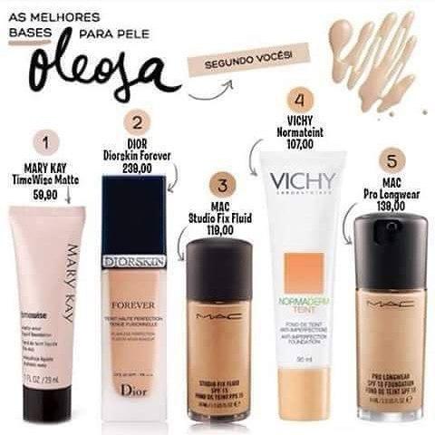 Essas são as melhores bases para quem tem a pele oleosa. consultor(a) vendedor(a)