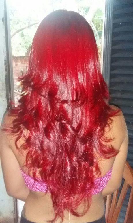 vermelho luxo . cabelo cabeleireiro(a)