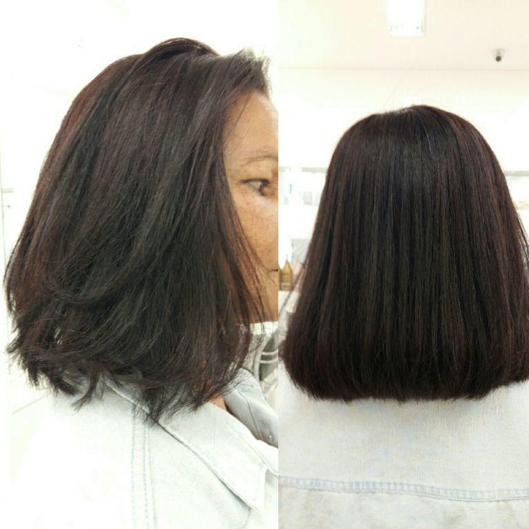 Coloração e escova. cabelo estudante (cabeleireiro) estudante (maquiador)
