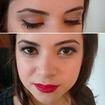 Maquiagem clássica com delineado fininho e boca vermelha, para um casamento diurno. #delineado #bocavermelha