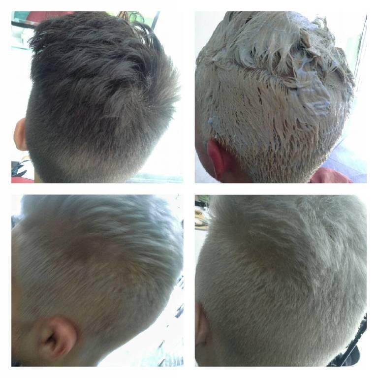 Masculino, platinado. cabeleireiro(a) designer de sobrancelhas maquiador(a)