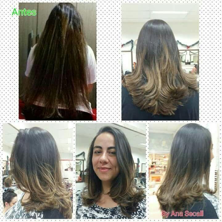 Corte em camadas e degradê. Escova modelada. cabelo cabeleireiro(a) manicure e pedicure escovista barbeiro(a) auxiliar cabeleireiro(a)