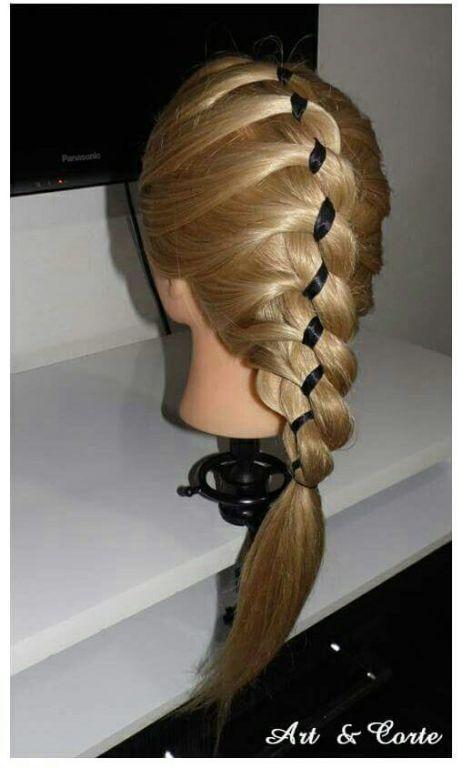 Trança embutida com fita de cetim cabelo estudante (cabeleireiro)