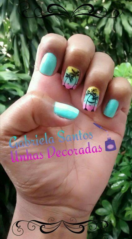 #Unhas_Decoradas a mão #Paisagem #NailArt unha manicure e pedicure