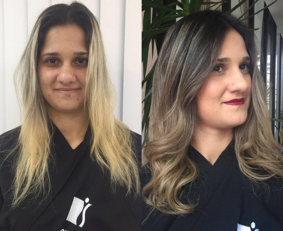 corte e luzes, antes e depois cabelo  cabeleireiro(a)
