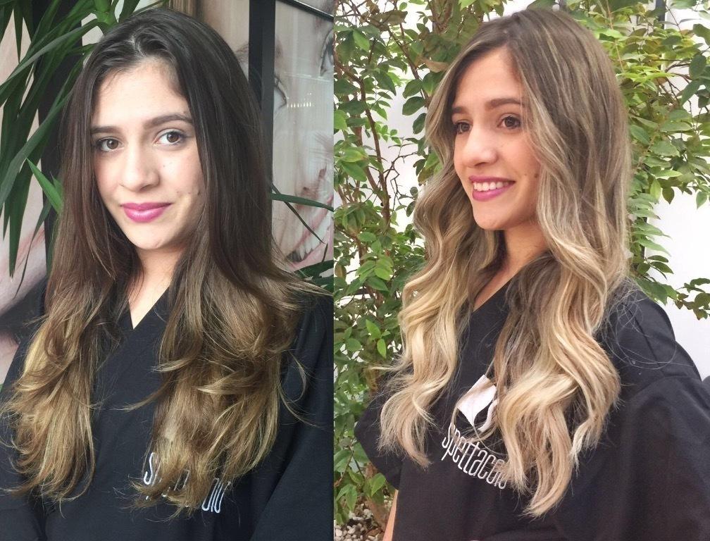 Loiro, morena iluminada, cabelo longo, ondulado cabelo  cabeleireiro(a)