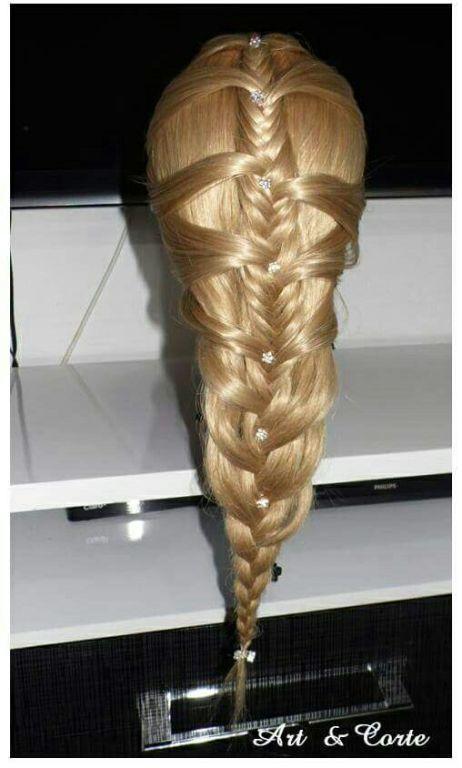 Trança espinho de peixe cabelo estudante (cabeleireiro)