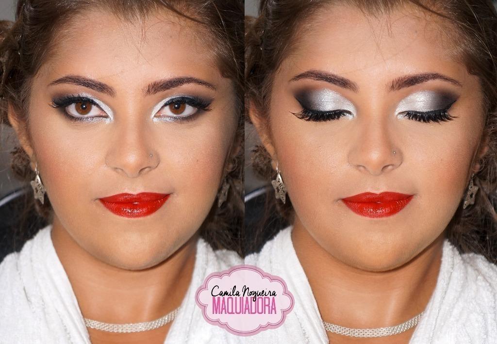 maquiagem oriental, prata, batom vermelho,  maquiagem  maquiador(a)
