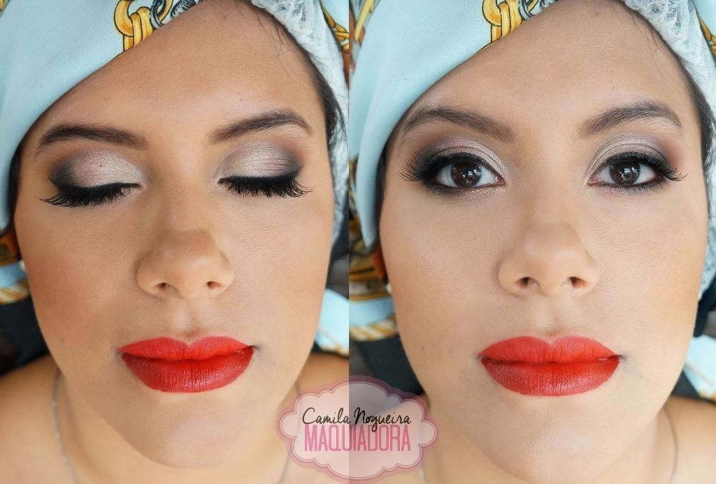 maquiagem oriental, batom laranja maquiagem  maquiador(a)