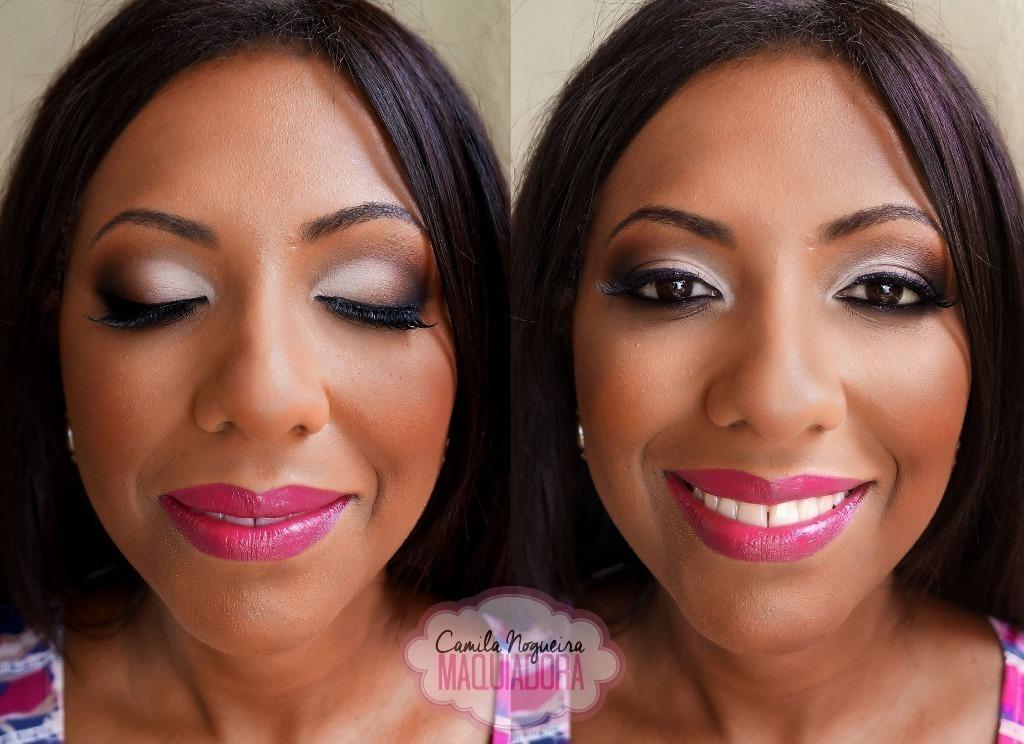 maquiagem pele negra, rosto oval, prata, batom pink, rosa maquiagem  maquiador(a)