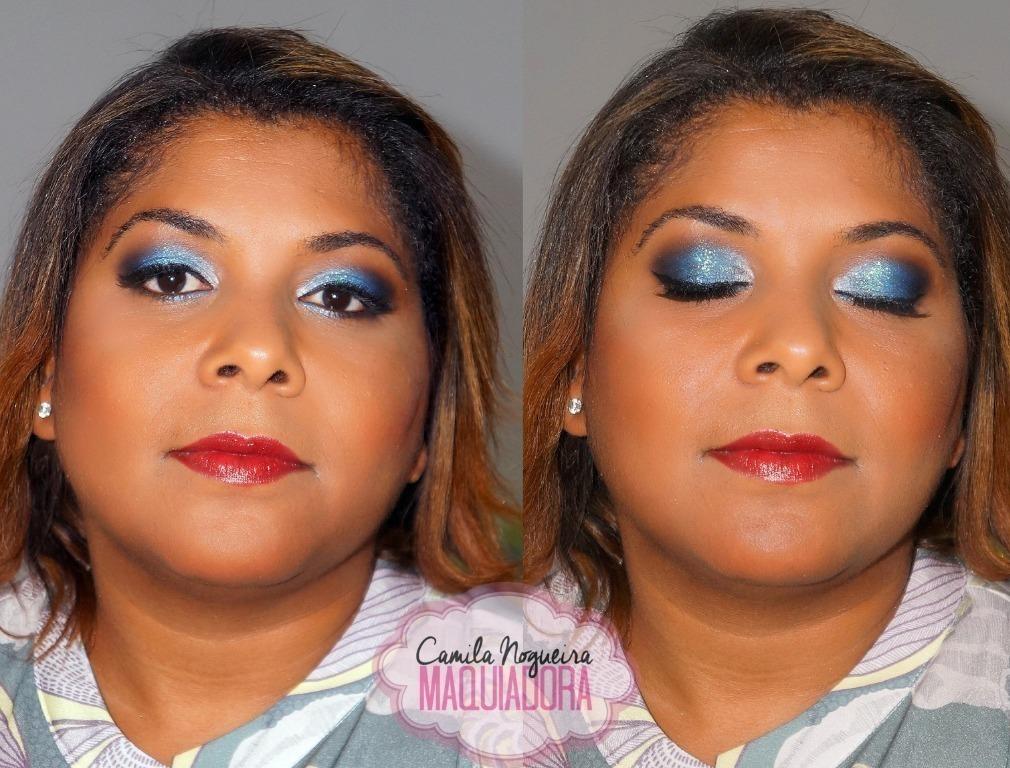 maquiagem pele negra, azul batom vermelho, rosto redondo maquiagem  maquiador(a)
