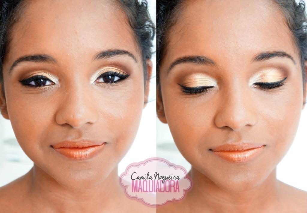 maquiagem dourada pele morena batom laranja pele negra maquiagem  maquiador(a)