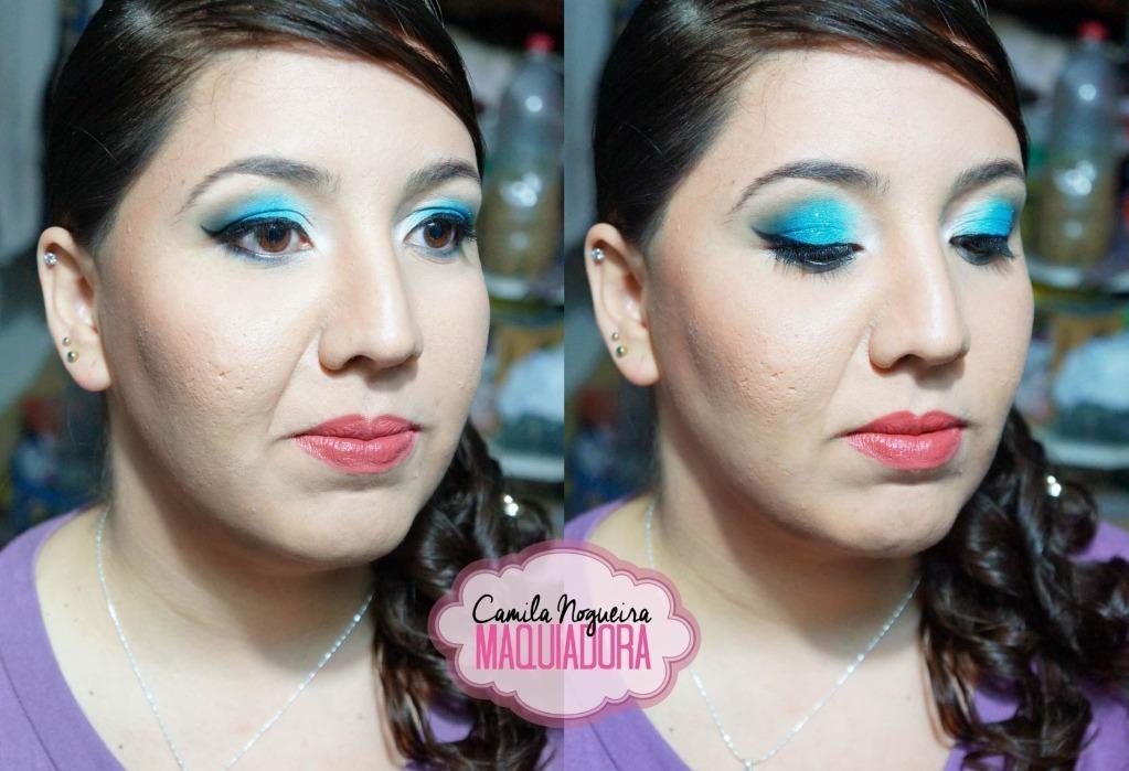 maquiagem azul, noite, balada, festa, formatura, batom nude maquiagem  maquiador(a)