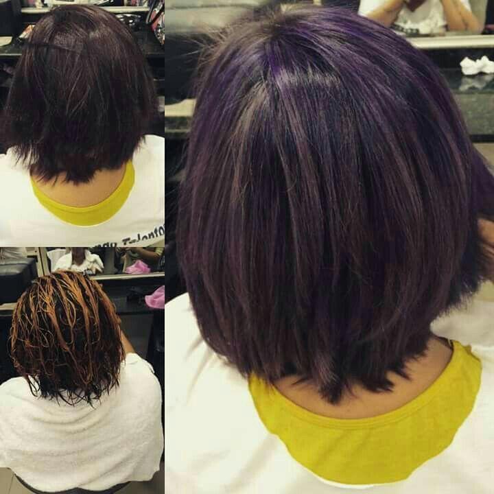 Luzes roxa cabelo designer de sobrancelhas estudante (manicure) estudante (maquiador) estudante (cabeleireiro)