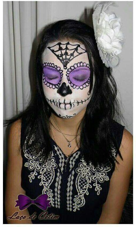 Maquiagem de dia das bruxas: Caveira Mexicana maquiagem estudante (cabeleireiro)