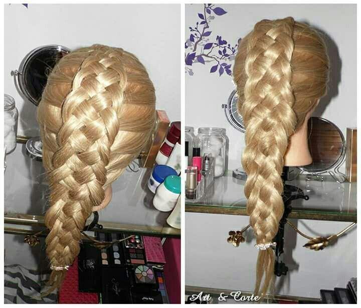 Trança embutida com cinco mechas cabelo estudante (cabeleireiro)