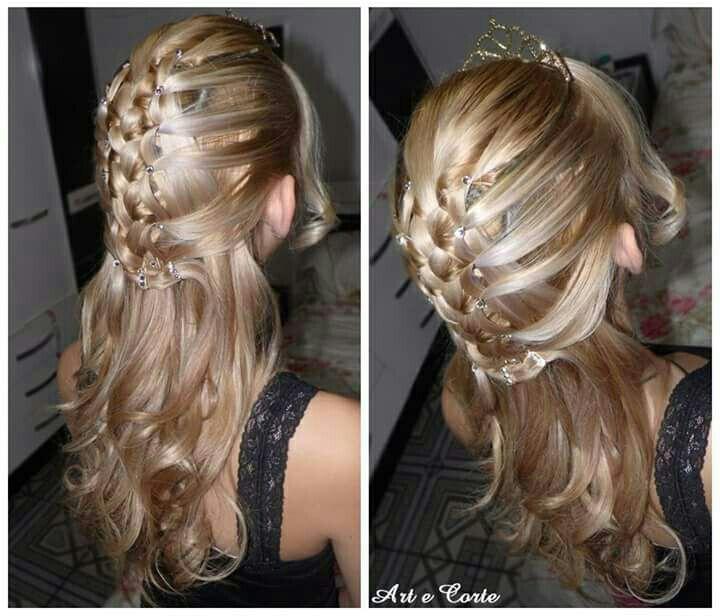 Trança embutida + semi preso cabelo estudante (cabeleireiro)
