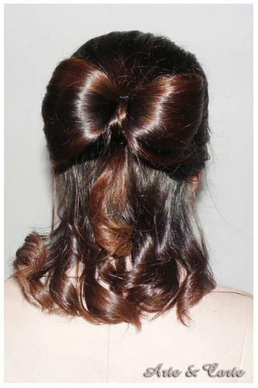 Semi solto com laço laço cabelo  estudante (cabeleireiro)