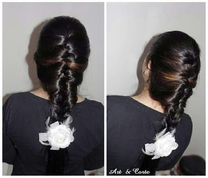 Trança grega cabelo estudante (cabeleireiro)