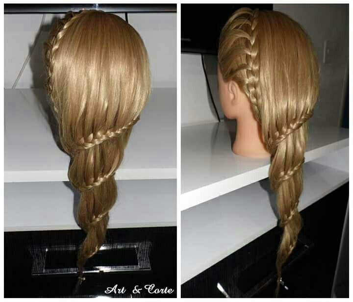 Trança embutida caracol cabelo estudante (cabeleireiro)