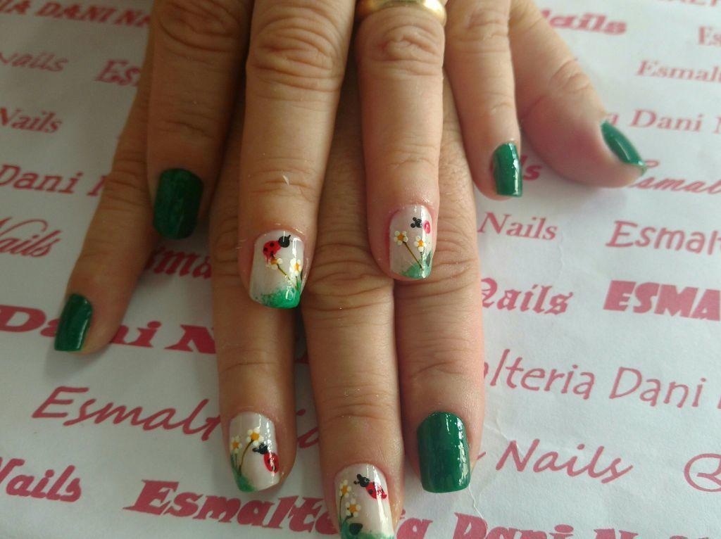 unha decorada, nail art, floral, flor,  verde unhas  empresário(a)
