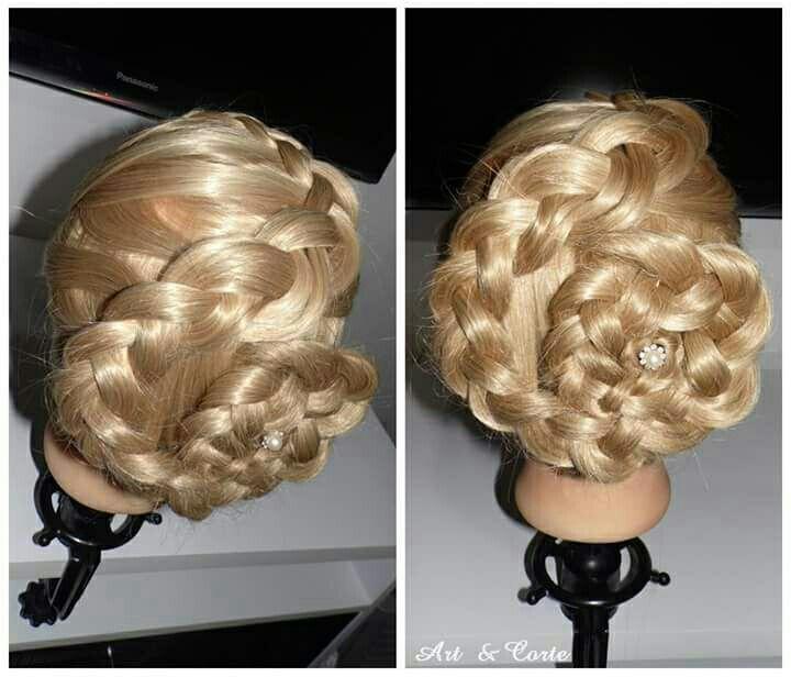 Coque com trança embutida em aspiral cabelo estudante (cabeleireiro)