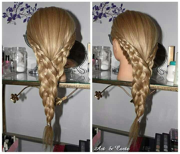 Trança embutida dupla com 4 mechas cabelo estudante (cabeleireiro)