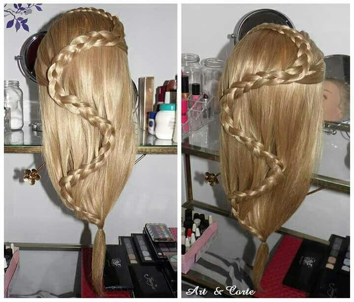 Penteado trança sobreposta cabelo estudante (cabeleireiro)