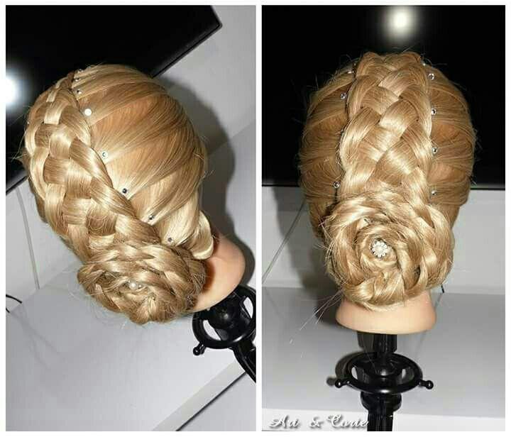 Coque com trança embutida de 5 mechas cabelo estudante (cabeleireiro)