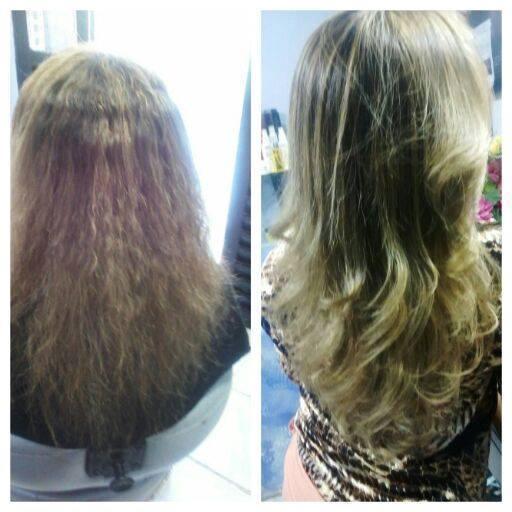 Fiz uma progressiva neste cabelo  e fiz o antes e o depois. cabeleireiro(a)