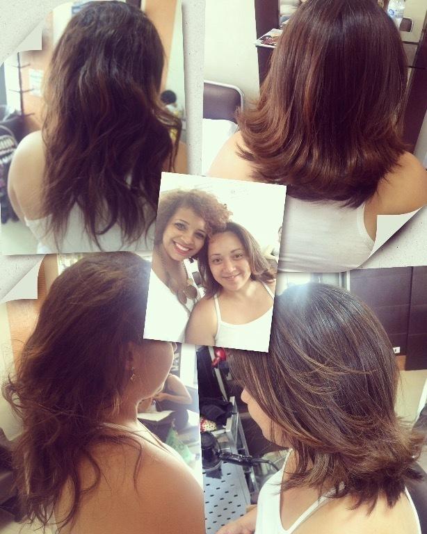 Corte e escova, valorizando o formato do rosto. cabelo cabeleireiro(a) maquiador(a)