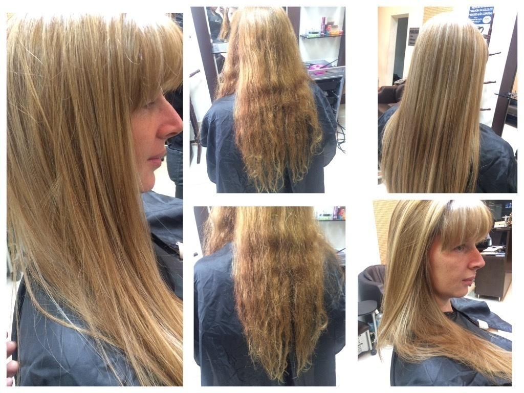 Luzes no tom dourado, corte e progressiva. cabelo cabeleireiro(a) maquiador(a)